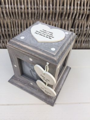 Shabby Chic Rustic Wood Style Personalised Mother Of Bride Gift Photo Cube Box